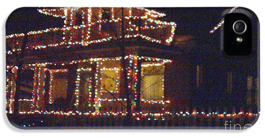 Home Holiday Lights IPhone 5 / 5s Case featuring the digital art Home Holiday Lights 2011 by Feile Case