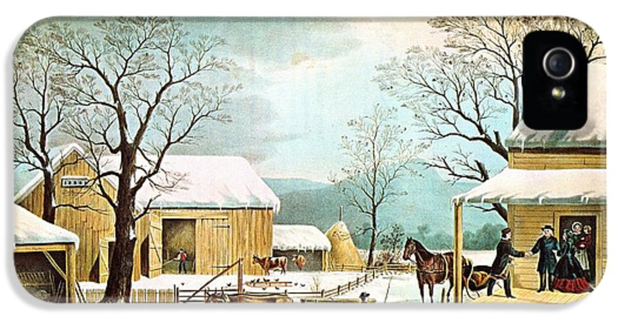 Currier And Ives IPhone 5 / 5s Case featuring the digital art Home To Thanksgiving by Currier and Ives