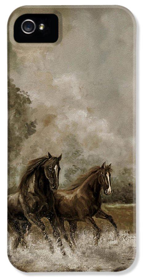 Horse Painting Equestrians IPhone 5 / 5s Case featuring the painting Horse Painting Escaping The Storm by Regina Femrite