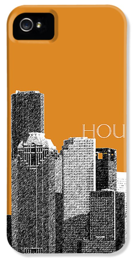 Architecture IPhone 5 / 5s Case featuring the digital art Houston Skyline - Dark Orange by DB Artist