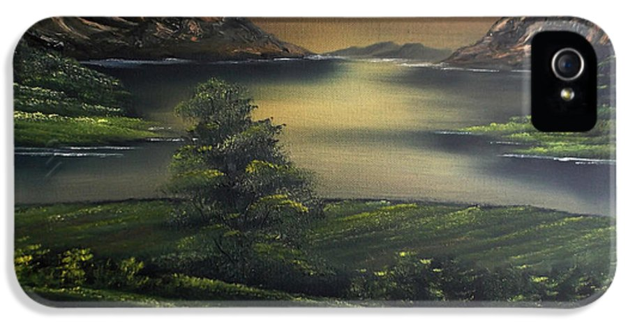Landscape IPhone 5 / 5s Case featuring the painting How Green Is My Valley by Cynthia Adams