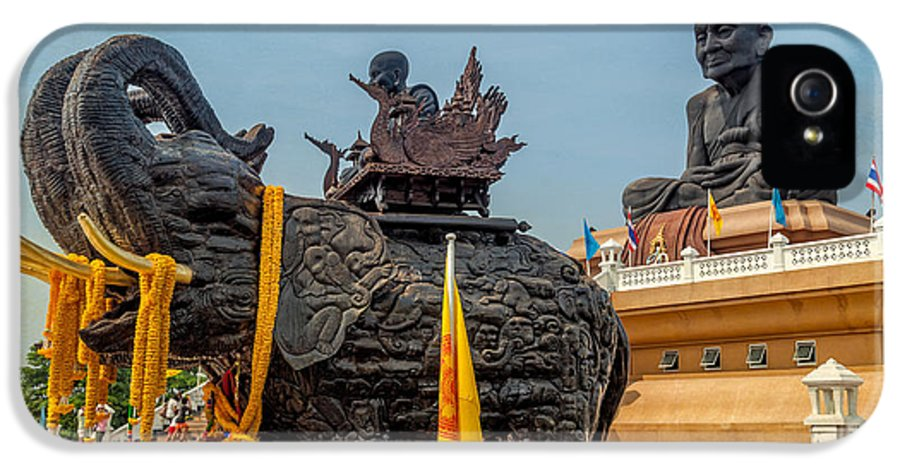 Hdr IPhone 5 / 5s Case featuring the photograph Huay Mongkol Temple by Adrian Evans