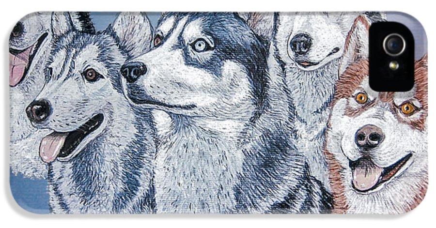 Huskies IPhone 5 / 5s Case featuring the painting Huskies By J. Belter Garfunkel by Sheldon Kralstein