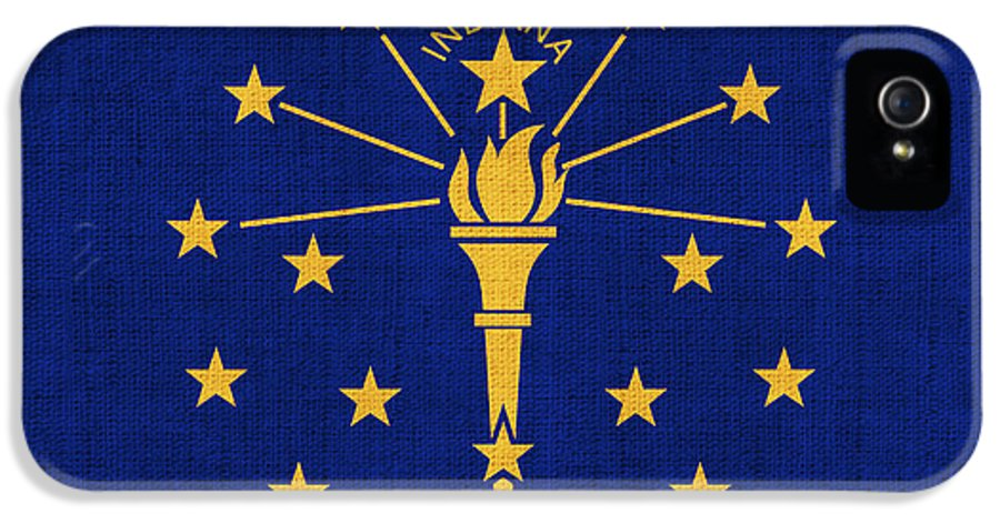 Indiana IPhone 5 / 5s Case featuring the painting Indiana State Flag by Pixel Chimp