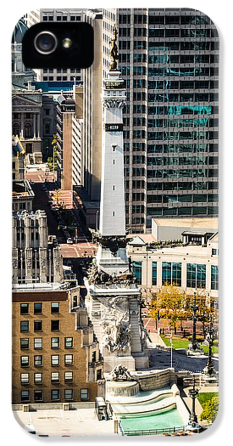 America IPhone 5 / 5s Case featuring the photograph Indianapolis Aerial Picture Of Monument Circle by Paul Velgos