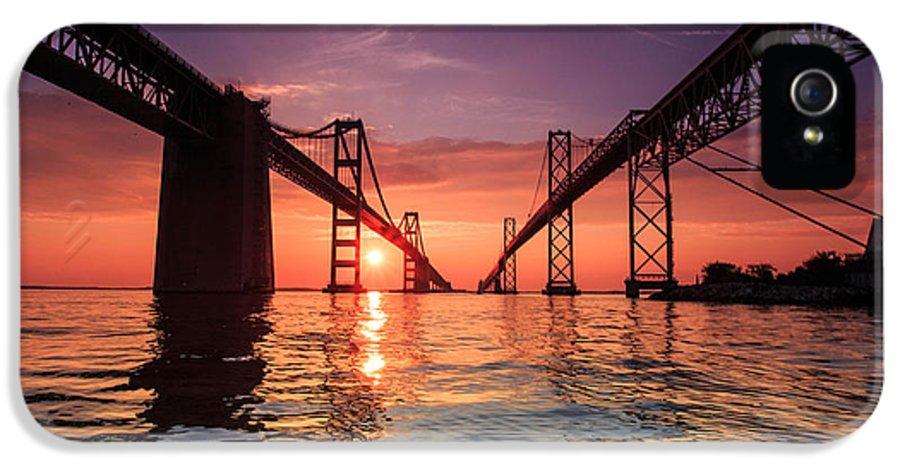 Landscape IPhone 5 / 5s Case featuring the photograph Into Sunrise - Bay Bridge by Jennifer Casey