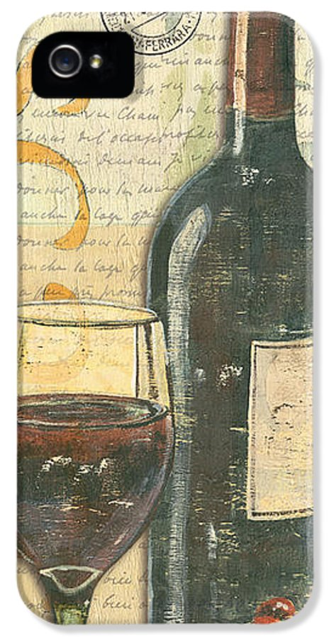 Wine IPhone 5 / 5s Case featuring the painting Italian Wine And Grapes by Debbie DeWitt