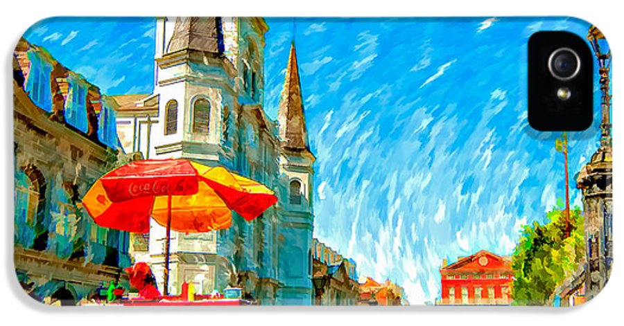 French Quarter IPhone 5 / 5s Case featuring the photograph Jackson Square Painted Version by Steve Harrington