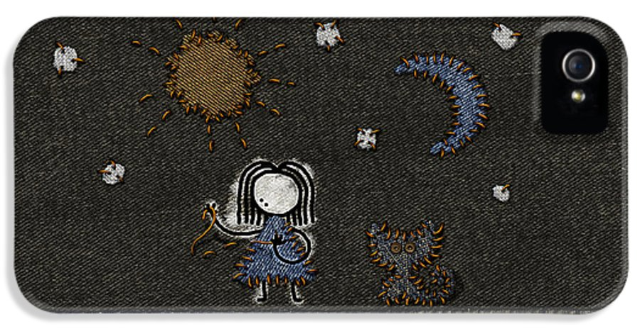 Abstract IPhone 5 / 5s Case featuring the drawing Jeans Stitches by Gianfranco Weiss