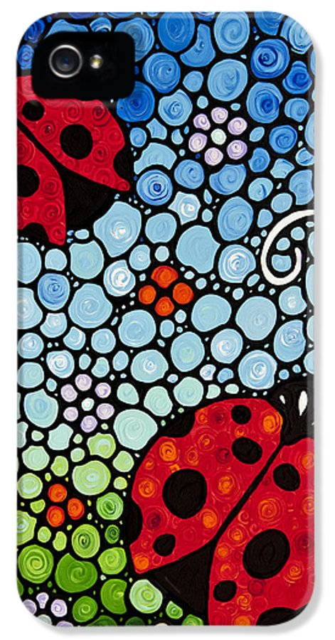Ladybugs IPhone 5 / 5s Case featuring the painting Joyous Ladies Ladybugs by Sharon Cummings