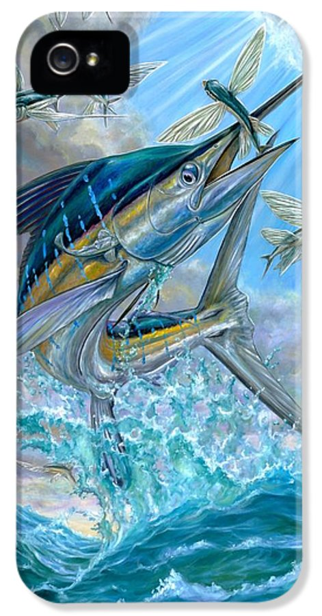 White Marlin IPhone 5 / 5s Case featuring the painting Jumping White Marlin And Flying Fish by Terry Fox