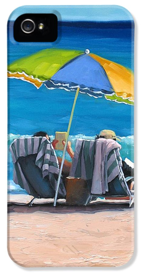 Seascape IPhone 5 / 5s Case featuring the painting Just Leave A Message Iv by Laura Lee Zanghetti