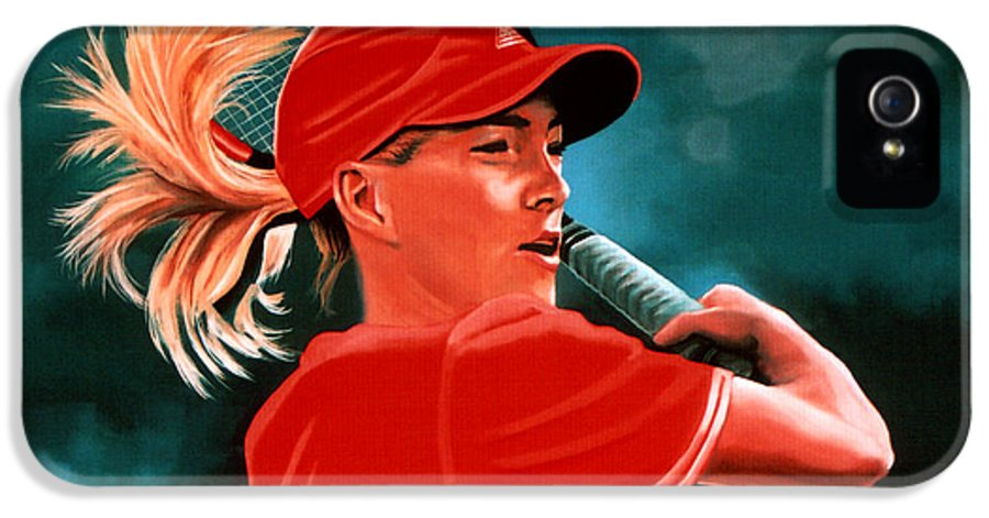 Justine Henin IPhone 5 / 5s Case featuring the painting Justine Henin by Paul Meijering