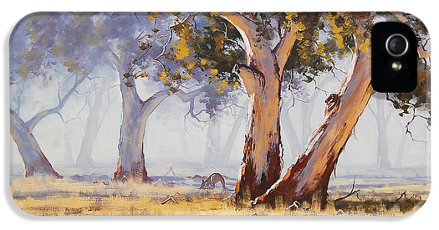 Eucalyptus Trees IPhone 5 / 5s Case featuring the painting Kangaroo Grazing by Graham Gercken