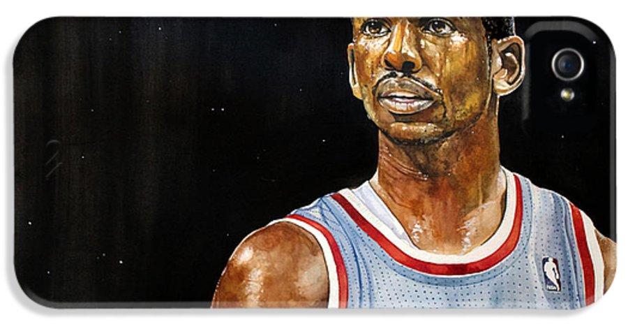 Chris Paul IPhone 5 / 5s Case featuring the painting La Clippers' Chris Paul by Michael Pattison
