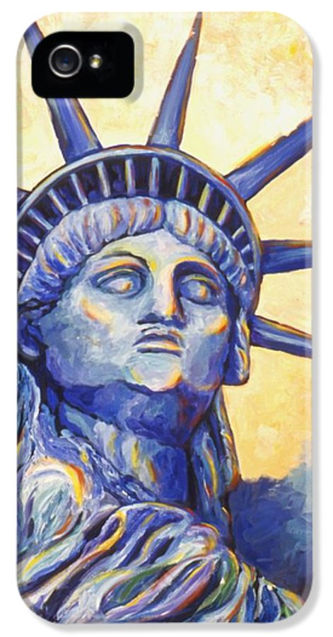 Statue Of Liberty IPhone 5 / 5s Case featuring the painting Lady Liberty by Linda Mears