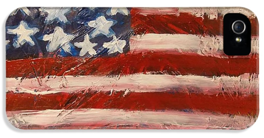 America IPhone 5 / 5s Case featuring the painting Land Of The Free by Niceliz Howard