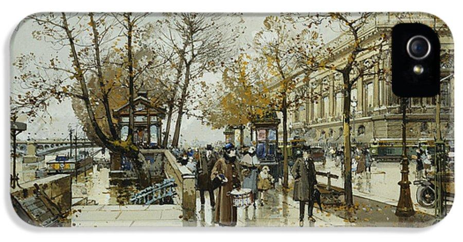 19th Century IPhone 5 / 5s Case featuring the painting Le Quai De Louvre Paris by Eugene Galien-Laloue
