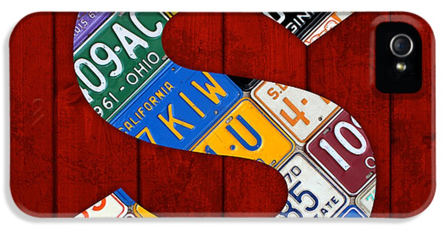 Letter IPhone 5 / 5s Case featuring the mixed media Letter S Alphabet Vintage License Plate Art by Design Turnpike