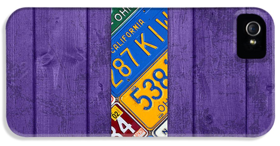 Letter IPhone 5 / 5s Case featuring the mixed media Letter T Alphabet Vintage License Plate Art by Design Turnpike