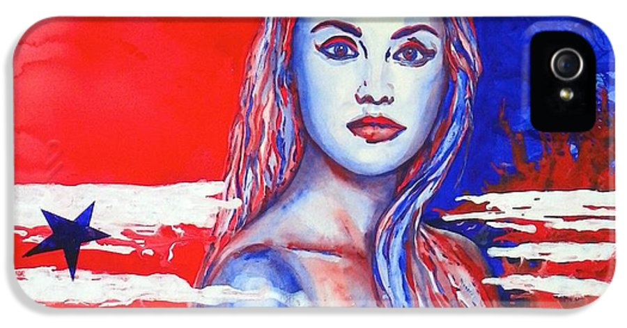 America's Freedom IPhone 5 / 5s Case featuring the painting Liberty American Girl by Anna Ruzsan