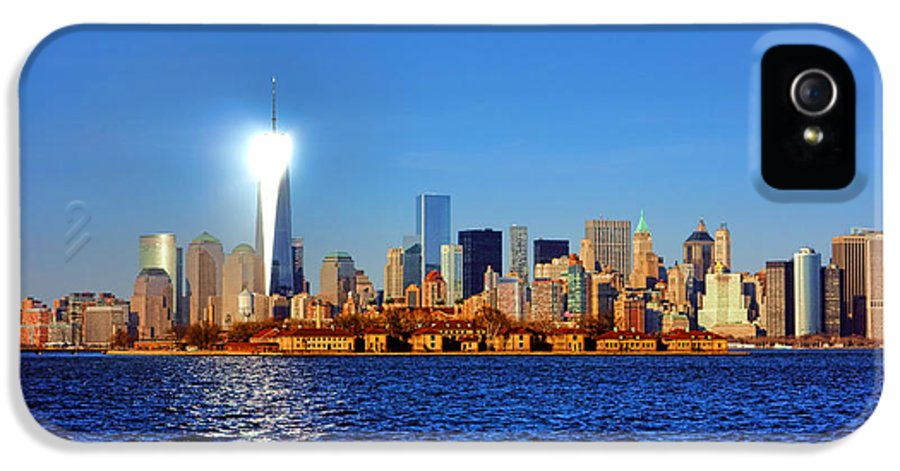 New IPhone 5 / 5s Case featuring the photograph Lighthouse Manhattan by Olivier Le Queinec