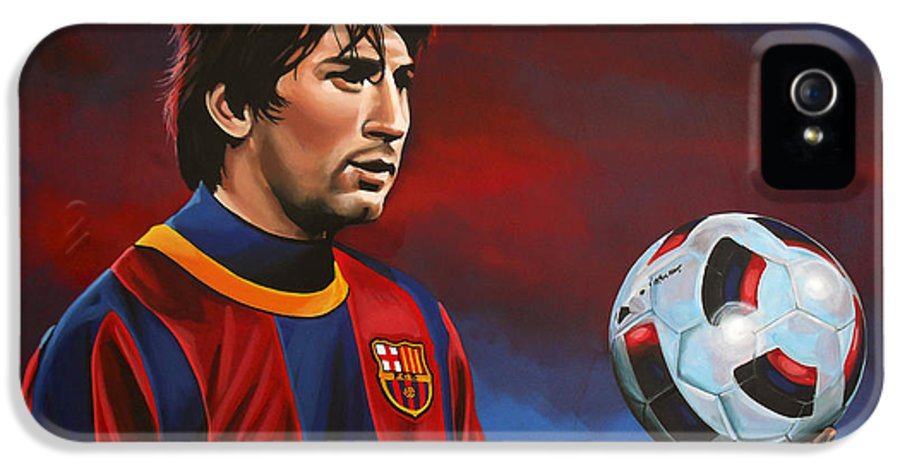 Lionel Messi IPhone 5 / 5s Case featuring the painting Lionel Messi by Paul Meijering