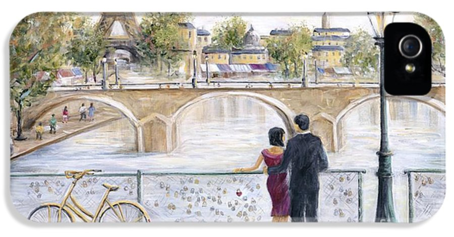 Paris IPhone 5 / 5s Case featuring the painting Locked In Love by Marilyn Dunlap