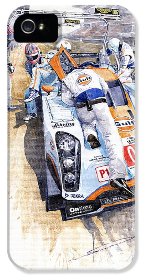Automotive IPhone 5 / 5s Case featuring the painting Lola Aston Martin Lmp1 Gulf Team 2009 by Yuriy Shevchuk