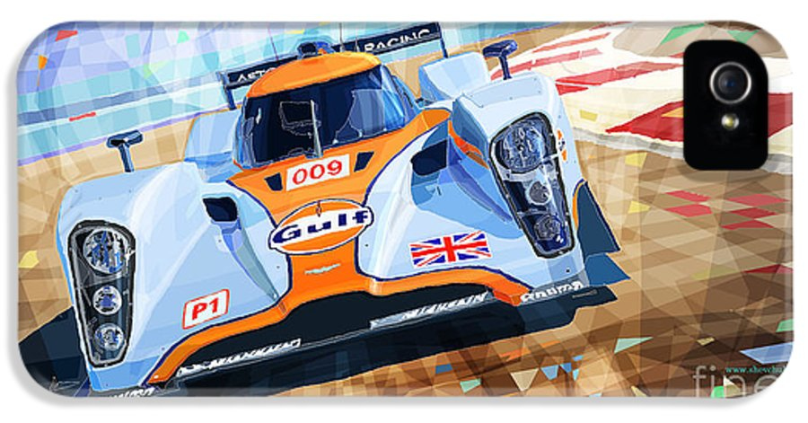 Automotive IPhone 5 / 5s Case featuring the mixed media Lola Aston Martin Lmp1 Racing Le Mans Series 2009 by Yuriy Shevchuk