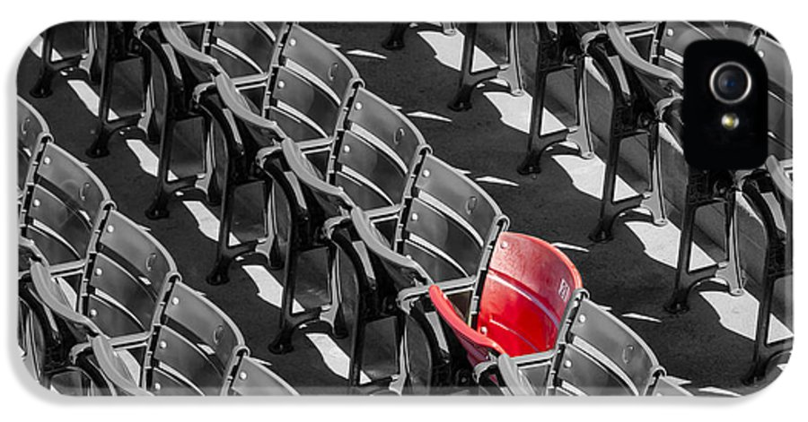 #21 IPhone 5 / 5s Case featuring the photograph Lone Red Number 21 Fenway Park Bw by Susan Candelario