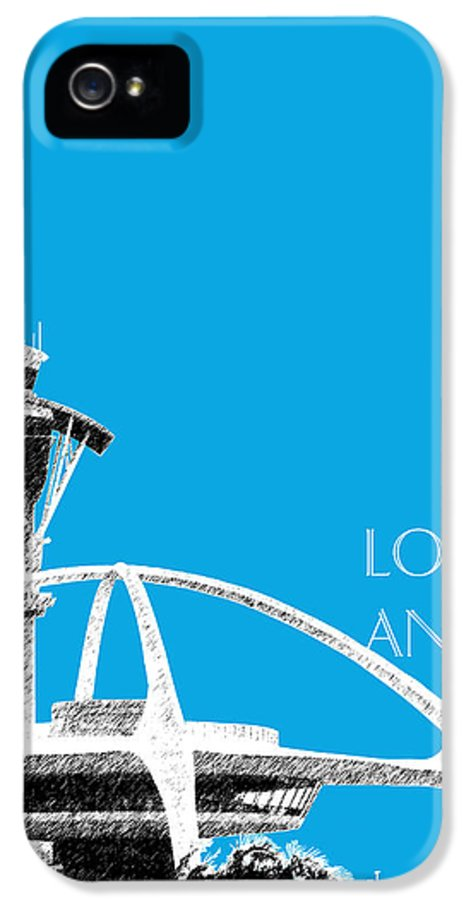 Architecture IPhone 5 / 5s Case featuring the digital art Los Angeles Skyline Lax Spider - Ice Blue by DB Artist