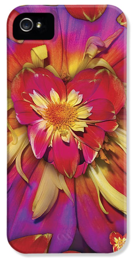 Abstract IPhone 5 / 5s Case featuring the digital art Loveflower Orangered by Alixandra Mullins