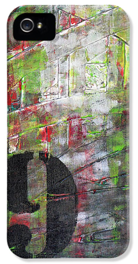 Abstract Painting Paintings IPhone 5 / 5s Case featuring the painting Lucky Number 9 Green Red Grey Black Abstract By Chakramoon by Belinda Capol