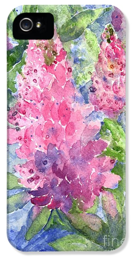 Shower Curtain IPhone 5 / 5s Case featuring the painting Lupine Time by Carol Wisniewski