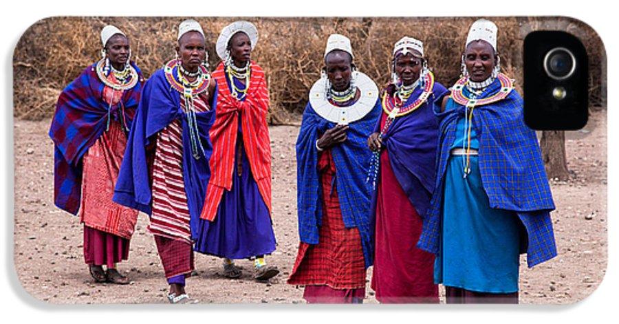 Village IPhone 5 / 5s Case featuring the photograph Maasai Women In Front Of Their Village In Tanzania by Michal Bednarek