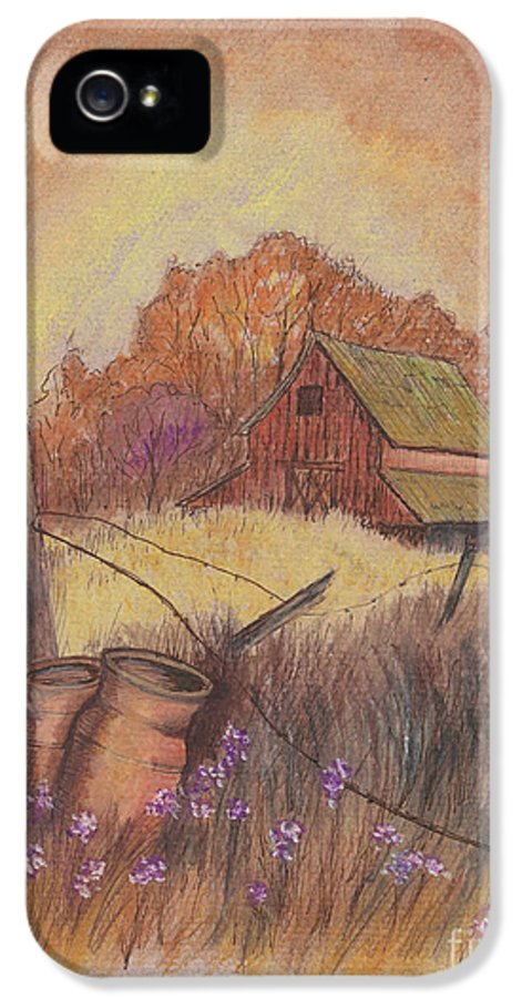 Pastel Drawing IPhone 5 / 5s Case featuring the drawing Macgregors Barn Pstl by Carol Wisniewski