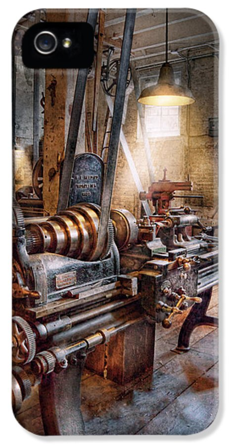 Machinists IPhone 5 / 5s Case featuring the photograph Machinist - Fire Department Lathe by Mike Savad