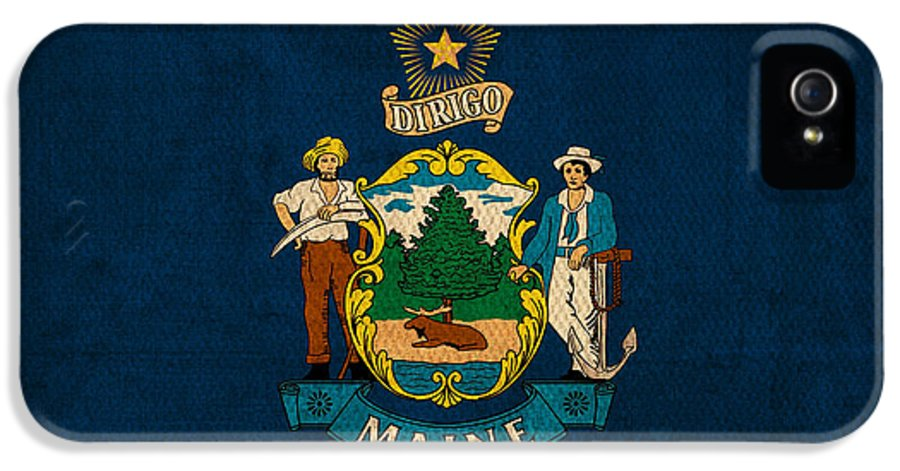 Maine State Flag Art On Worn Canvas IPhone 5 / 5s Case featuring the mixed media Maine State Flag Art On Worn Canvas by Design Turnpike