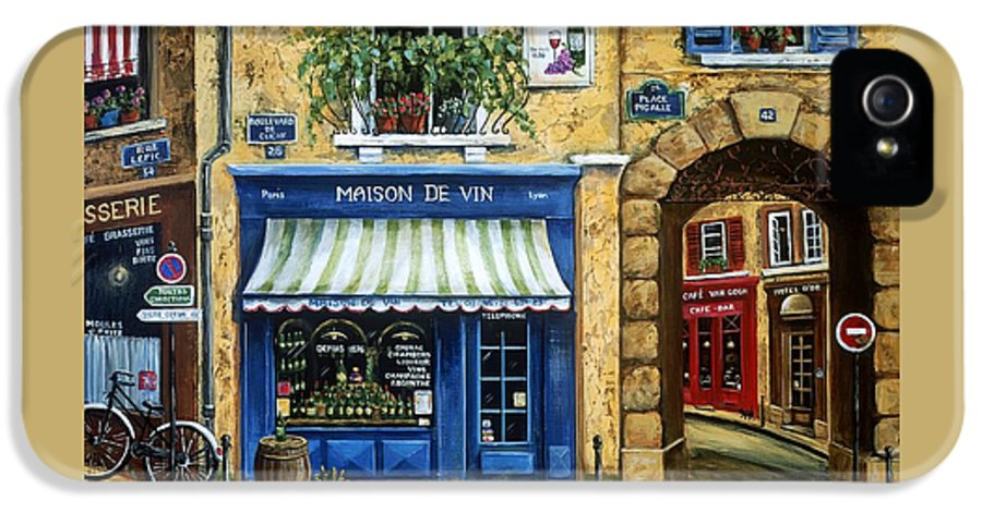 Wine IPhone 5 / 5s Case featuring the painting Maison De Vin by Marilyn Dunlap