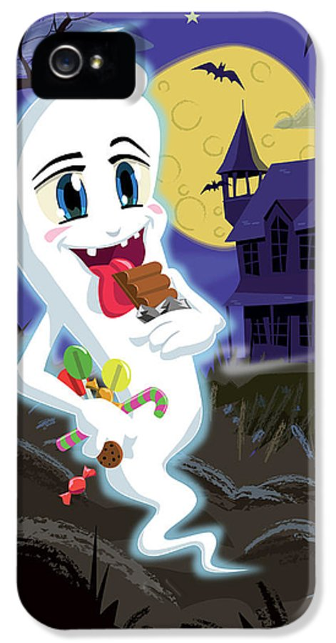 Ghost IPhone 5 / 5s Case featuring the drawing Manga Sweet Ghost At Halloween by Martin Davey