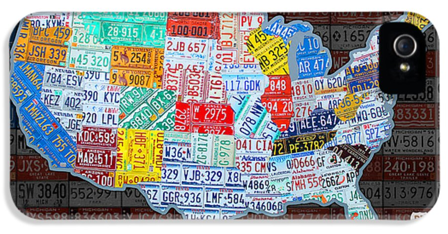 Map Of The United States In Vintage License Plates On American Flag IPhone 5 / 5s Case by Design Turnpike