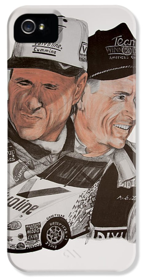 Mark IPhone 5 / 5s Case featuring the drawing Mark Martin Race Car Driver by Joe Lisowski