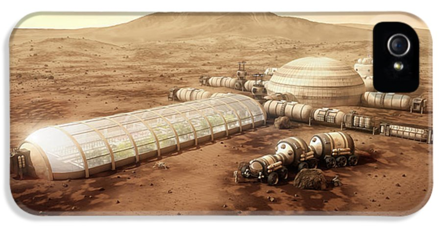 Mars Settlement IPhone 5 / 5s Case featuring the digital art Mars Settlement With Farm by Bryan Versteeg