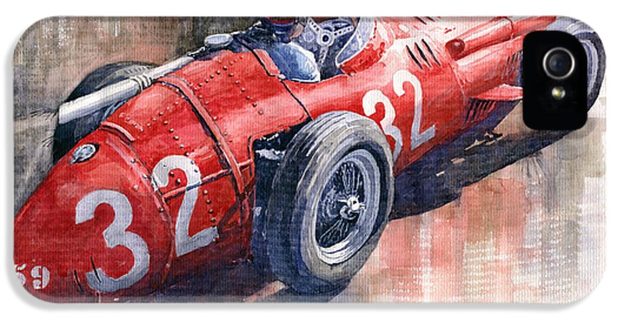 Watercolor IPhone 5 / 5s Case featuring the painting Maserati 250f J M Fangio Monaco Gp 1957 by Yuriy Shevchuk