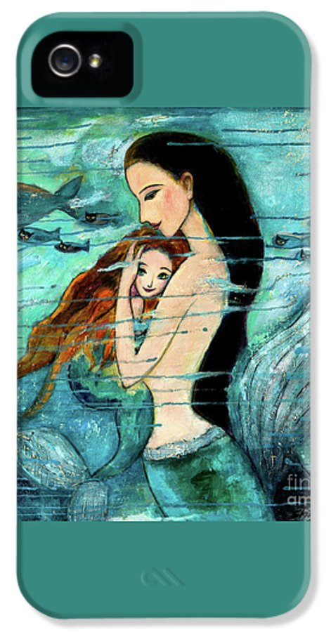 Mermaid Art IPhone 5 / 5s Case featuring the painting Mermaid Mother And Child by Shijun Munns