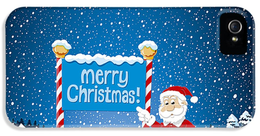 Merry IPhone 5 / 5s Case featuring the drawing Merry Christmas Sign Santa Claus Winter Landscape by Frank Ramspott