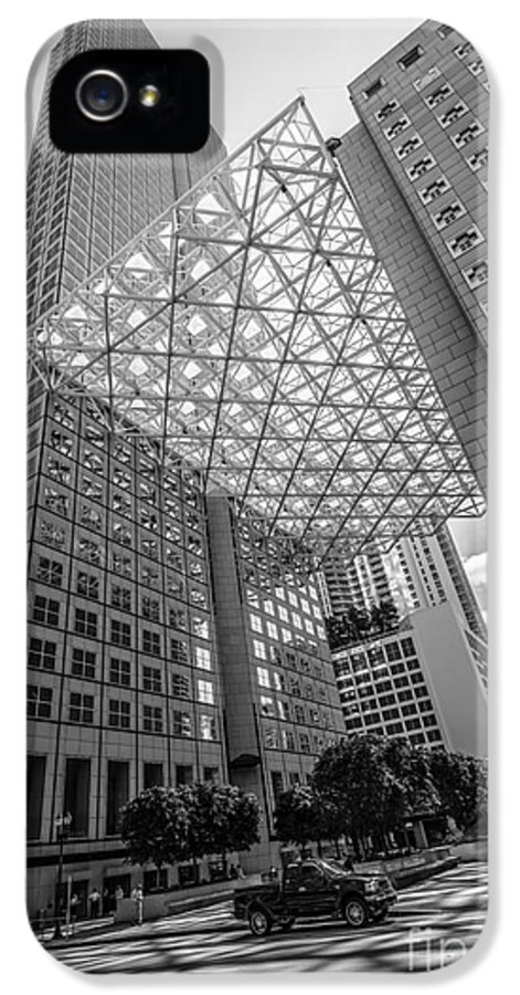 America IPhone 5 / 5s Case featuring the photograph Miami Downtown Shadow Play - Black And White by Ian Monk