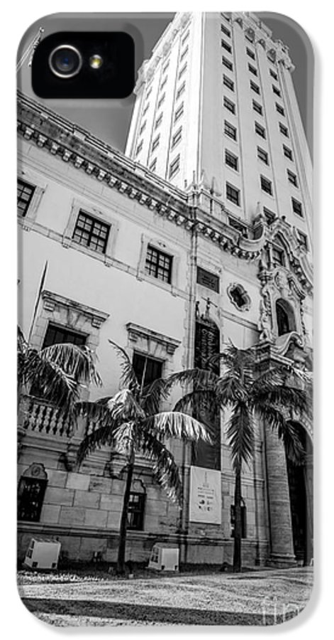 America IPhone 5 / 5s Case featuring the photograph Miami Freedom Tower 1 - Miami - Florida - Black And White by Ian Monk