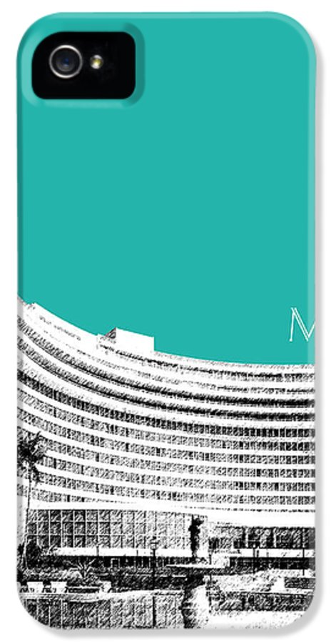 Architecture IPhone 5 / 5s Case featuring the digital art Miami Skyline Fontainebleau Hotel - Teal by DB Artist